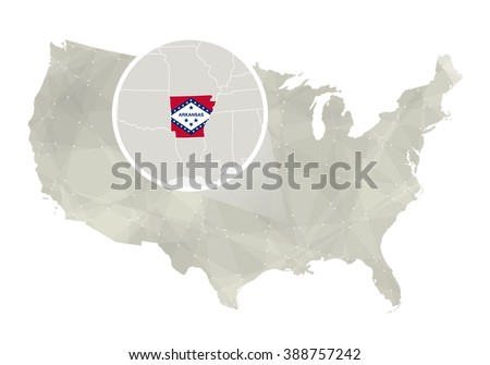 Polygonal Abstract Usa Map With Magnified Arkansas State Arkansas State Map And Flag Us