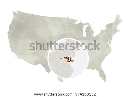 State Maryland Blue Low Poly Map Stock Vector 470645810 Shutterstock