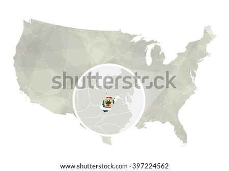 Polygonal Abstract Usa Map Magnified Virginia Stock Vector - Virginia on us map