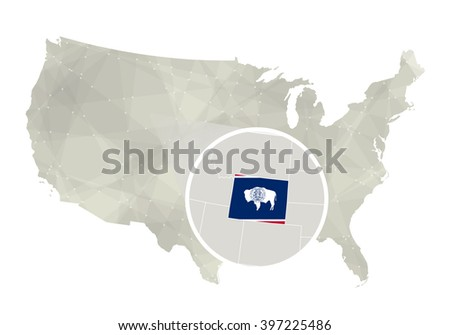 Wyoming State On Usa Map Wyoming Stock Vector Shutterstock - Wyoming us map