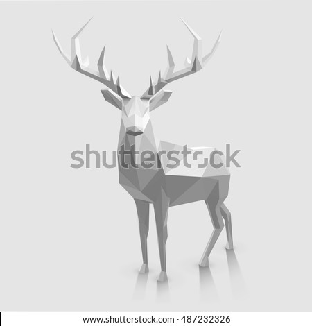 Polygonal animal illustration. Vector low poly stag, with space for text.  Christmas graphic element.