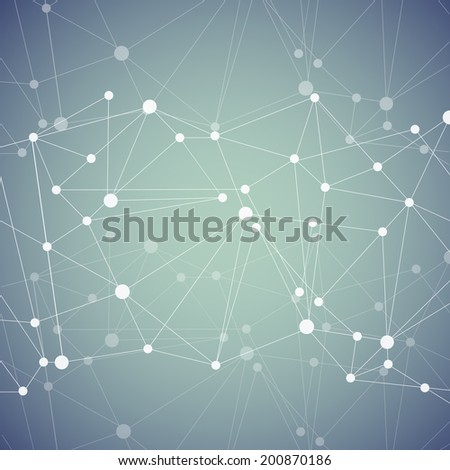 Polygonal background with abstract molecular connection. - stock vector