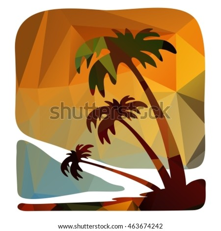 Polygonal backgrounds set, looks like stylized sunsets and sunrise. Summer colors.