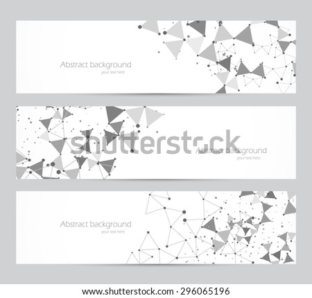 Polygonal banners with dot pattern in gray color - stock vector