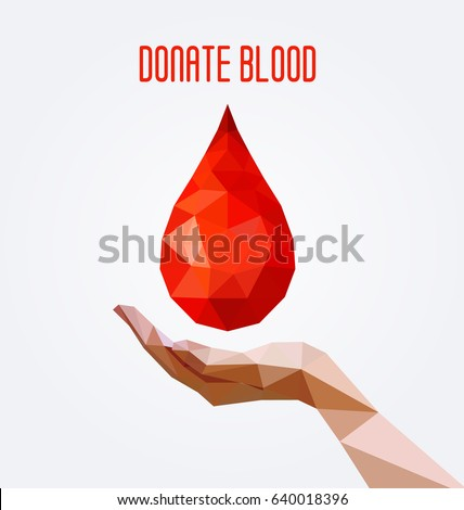 Blood donation stock images royalty free images vectors polygonal blood drop and hand poster blood donation concept vector illustration altavistaventures Choice Image