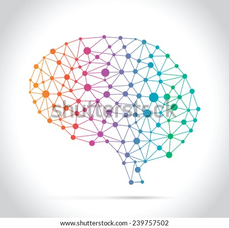 Polygonal Brain make with Colors Lines - stock vector