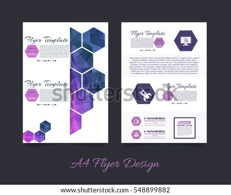 Polygonal Brochure, A4 Flyer Document and Vector Background. Corporate Leaflet, Textbook Cover Design. Print Ready Business Pamphlet or Low Poly Booklet Template