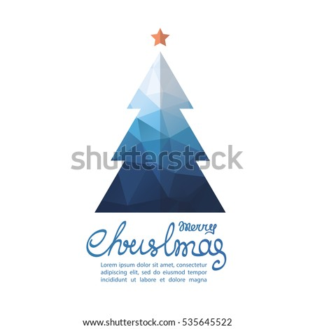 Polygonal Christmas tree with lettering isolated on white background. Design element for greeting cards or flyers. Xmas illustration.