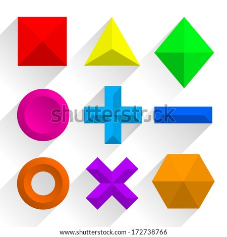 Polygonal colorful shapes. Vector illustration - stock vector