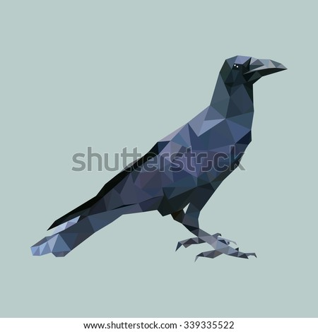 polygonal crow, polygon triangle bird, isolated animal vector