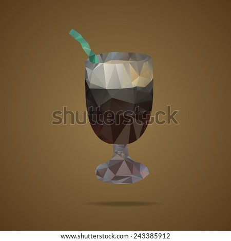 Polygonal cup of coffee with a green tubule on a brown background. Triangle design. Vector illustration - stock vector
