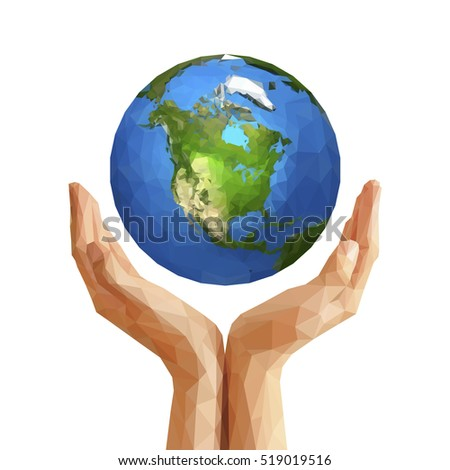 polygonal cupped hands that hold polygon planet earth america white