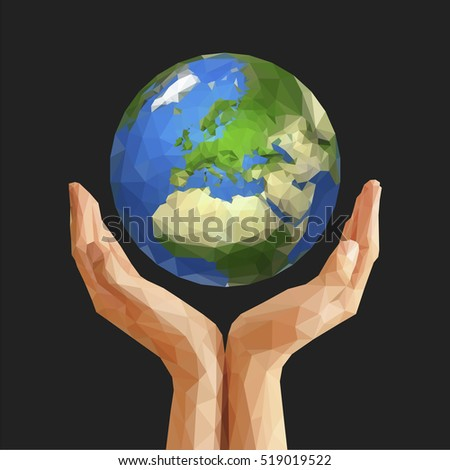 polygonal cupped hands that hold polygon planet earth europe gray