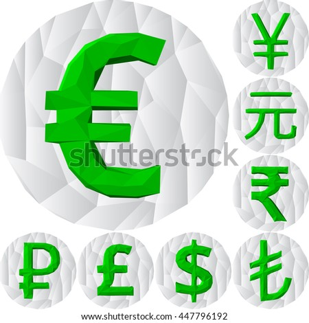 polygonal currency signs. green signs on white polygonal circle. - stock vector