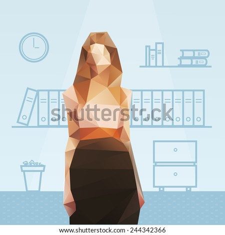 Polygonal female office manager - stock vector