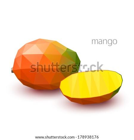 Polygonal fruit - mango. Vector illustration - stock vector