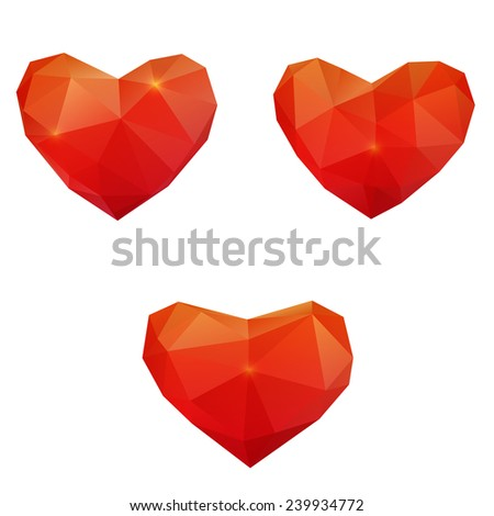 Polygonal geometric red heart - stock vector