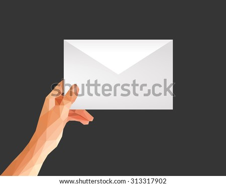 polygonal hand holding an envelope format C5 C6 on a black background