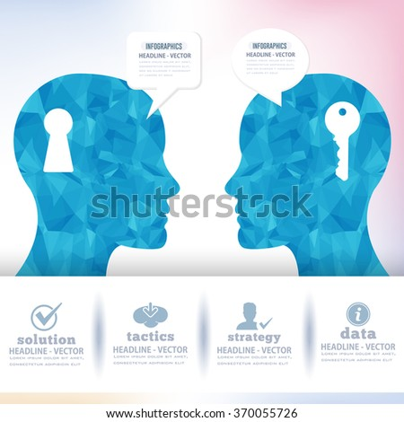Polygonal Human Head and Soft Style Speech Bubbles Infographics Elements - stock vector