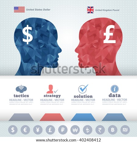 Polygonal Human Heads Finance Thinking Infographics Elements, Us Dollars and Pound - stock vector
