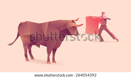 polygonal illustration of bullfights - stock vector