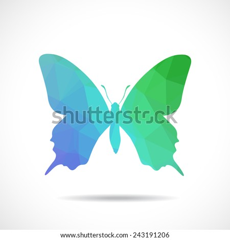 Polygonal illustration of butterfly - stock vector