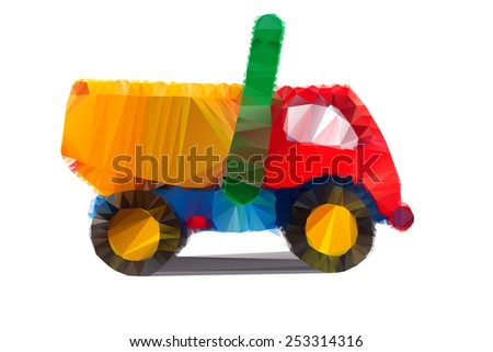 Polygonal illustration of colorful tipper isolated in white background - stock vector