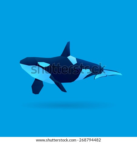 polygonal illustration of killer whale - stock vector