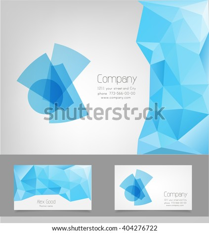 Polygonal logo design template and business cards - stock vector
