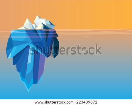 polygonal low poly style iceberg glacier landscape vector illustration-colorful horizontal view - stock vector