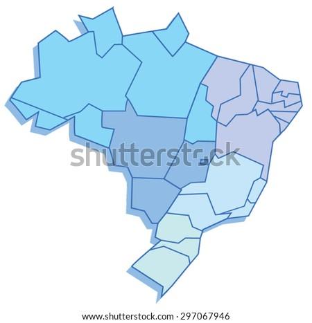 Polygonal map of Brazil - stock vector