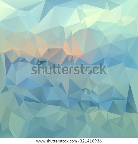 Polygonal mosaic abstract geometry background landscape in blue, green and pink colors. Used for creative design templates - stock vector