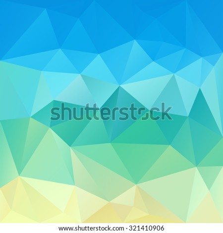 Polygonal mosaic abstract geometry background landscape in blue, yellow and green colors. Used for creative design templates - stock vector