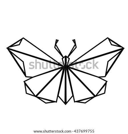 Polygonal Origami Butterfly Stock Vector 437699755