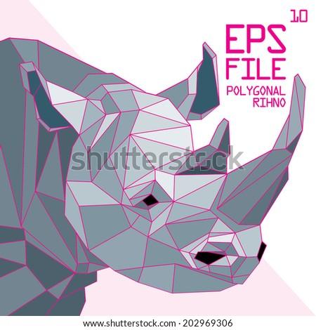 polygonal rhino illustration - stock vector