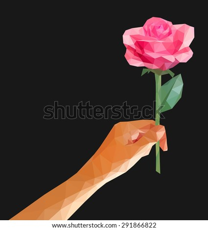 polygonal rose in her hand isolated low poly line on a black background