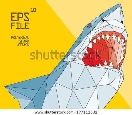 polygonal shark illustration - stock vector