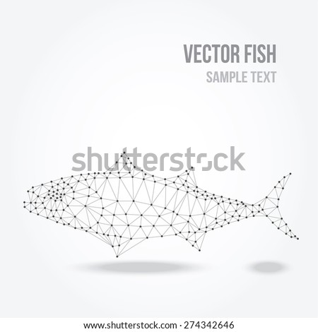 Polygonal silhouette of tuna fish, modern mesh low poly design, vector illustration - stock vector