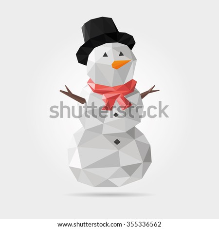 Polygonal Snowman in Vector