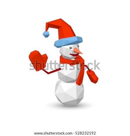 Polygonal snowman. Isolated on white background. 3d Vector illustration.