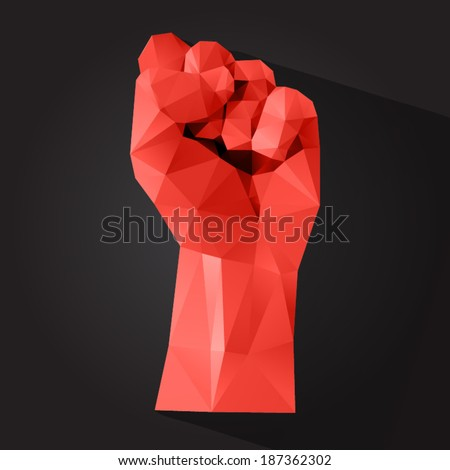 Polygonal style clenched fist on a dark background - stock vector