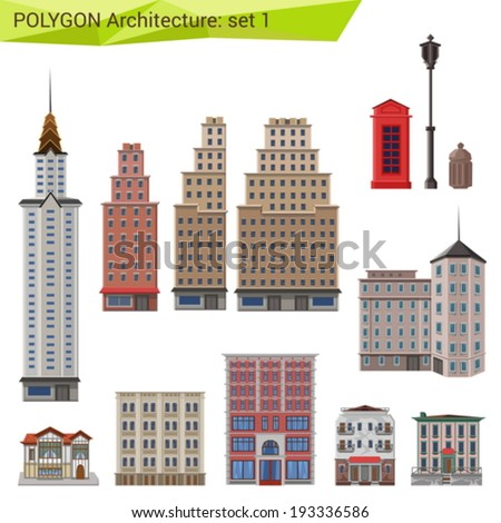 Polygonal style skyscrapers and buildings set. City design elements.  Polygon architecture collection. - stock vector