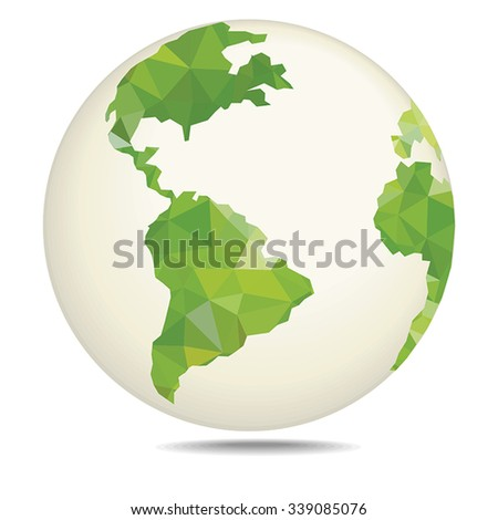 Polygonal style vector illustration of earth planet - stock vector