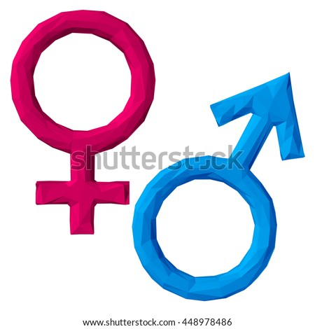 polygonal symbols. male and female.