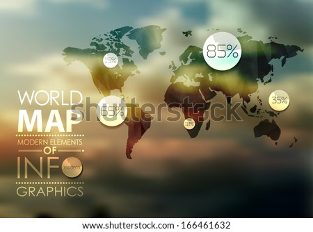 Polygonal transparent  World Map and Information Graphics. World Map and typography - stock vector
