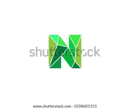 Polygonal Trend Letter N Logotype Color Stock Vector 1038601555