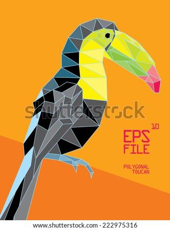 polygonal tucan illustration - stock vector