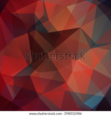 Polygonal vector background. Can be used in cover design, book design, website background. Vector illustration. Red, brown, blue colors.  - stock vector