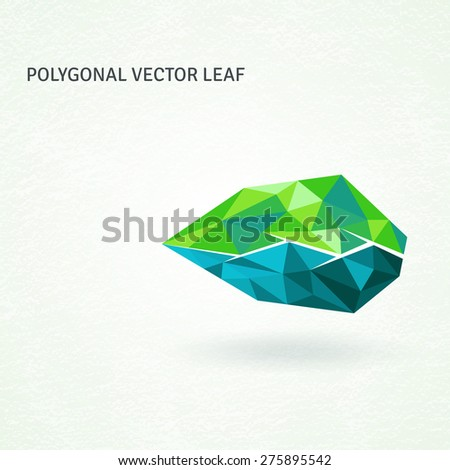 Polygonal vector leaf, geometrically shaped from triangles. Abstract emblem, design concept, logo, element for template.  - stock vector