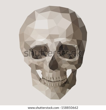 Polygonal vector skull. - stock vector